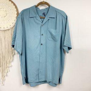 Tommy Bahama silk blue button down shirt